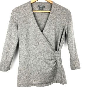 Ann Taylor gray Cashmere wrap ruched sweater M